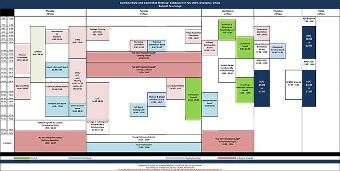 ICC 2019 Committee Meeting Grid
